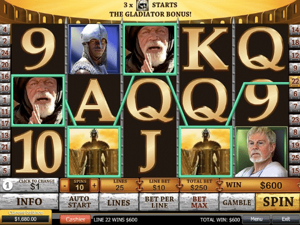 play gladiator slot machine for real money